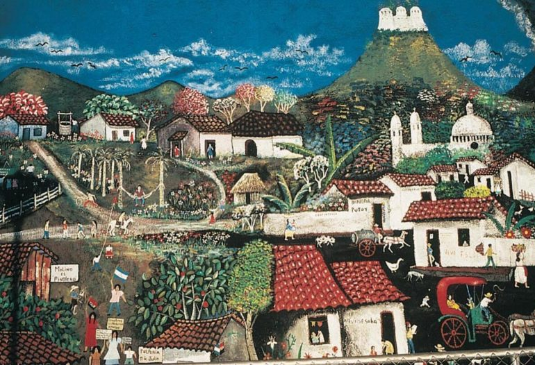 Naivistic painting with motifs from Nicaraguan landscape and culture