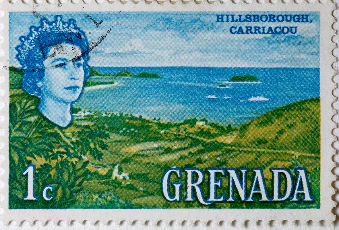 Stamp from Grenada with motif from Hillsborough, Carriacou