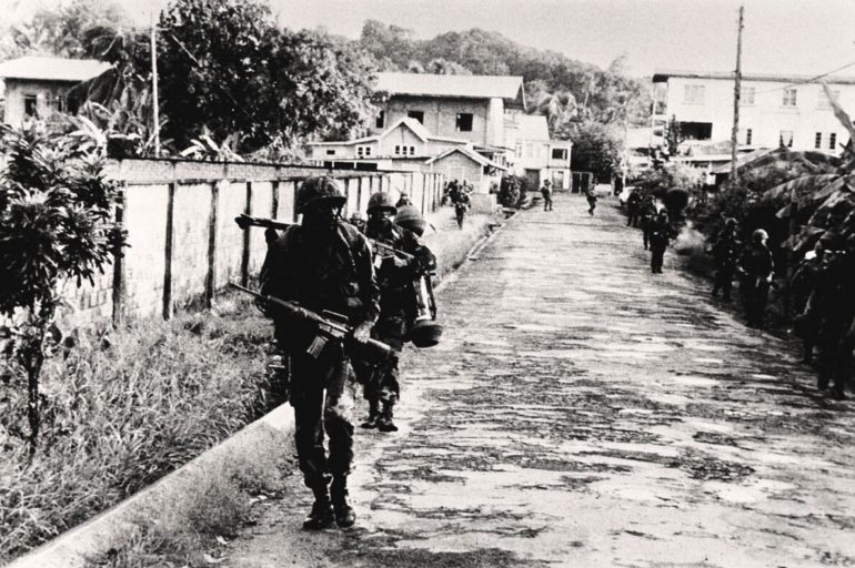 US invasion forces in Grenada at the end of October 1983
