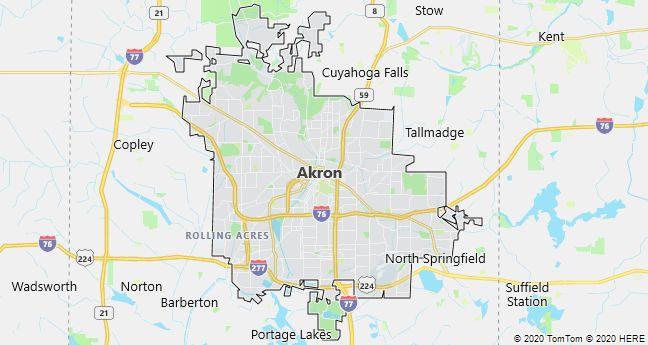 Map of Akron, Ohio