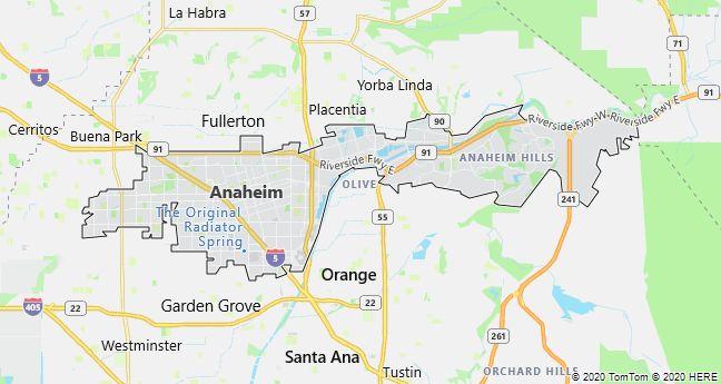 Map of Anaheim, California