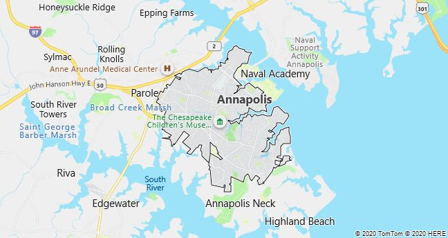 Map of Annapolis, Maryland