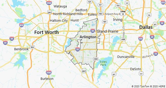 Map of Arlington, Texas