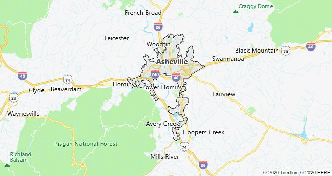 Map of Asheville, North Carolina