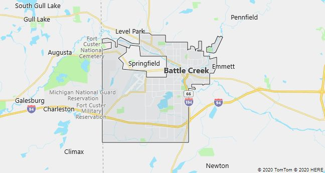 Map of Battle Creek, Michigan