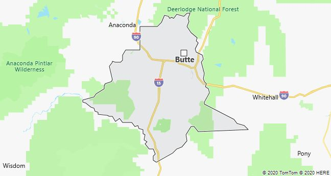 Map of Butte, Montana