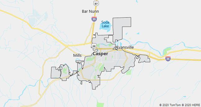 Map of Casper, Wyoming