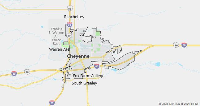 Map of Cheyenne, Wyoming