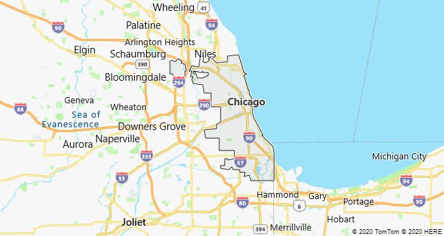 Map of Chicago, Illinois
