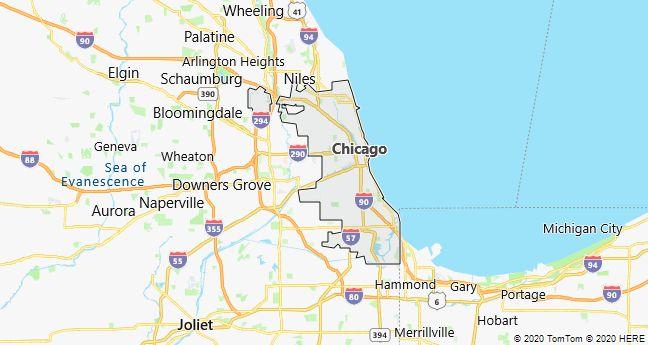 Map of Chicago, Illinois