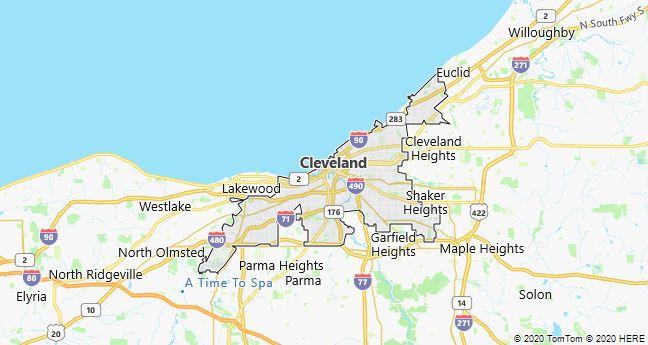 Map of Cleveland, Ohio