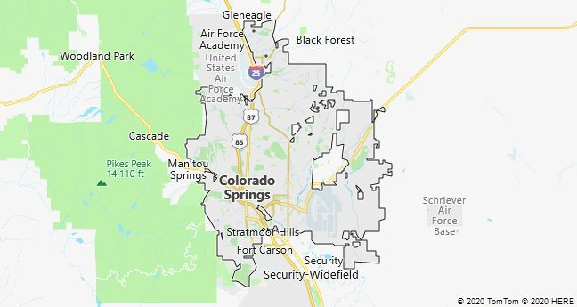 Map of Colorado Springs, Colorado