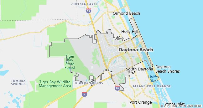 Map of Daytona Beach, Florida