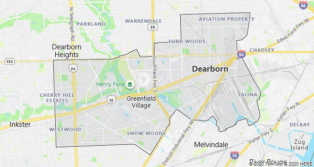Map of Dearborn, Michigan