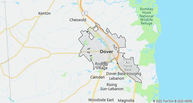 Map of Dover, Delaware