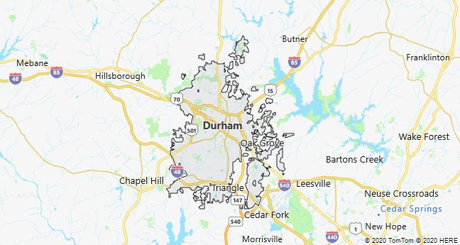 Map of Durham, North Carolina