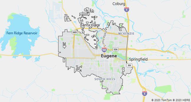 Map of Eugene, Oregon