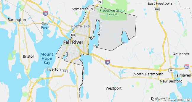 Map of Fall River, Massachusetts