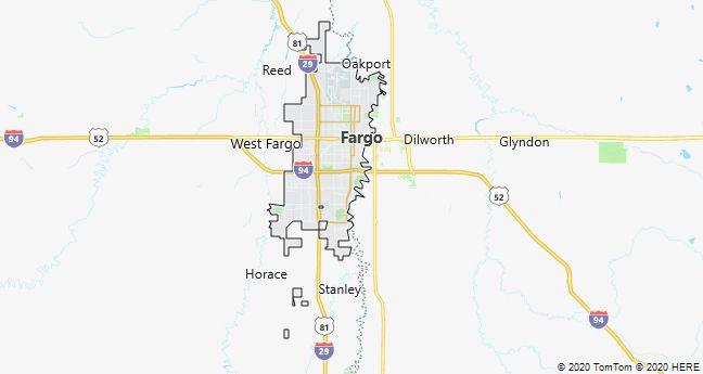 Map of Fargo, North Dakota