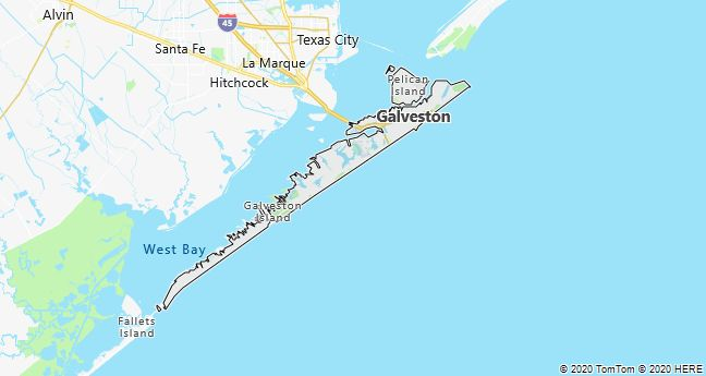 Map of Galveston, Texas