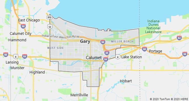 Map of Gary, Indiana