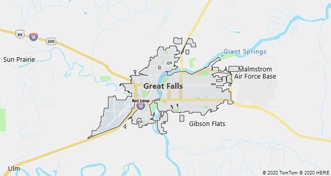 Map of Great Falls, Montana