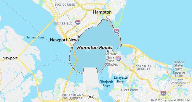 Map of Hampton Roads, Virginia