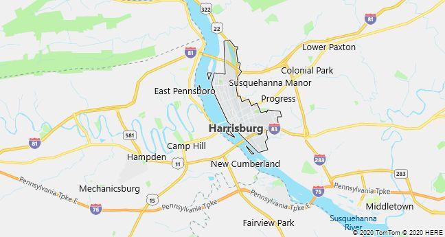 Map of Harrisburg, Pennsylvania