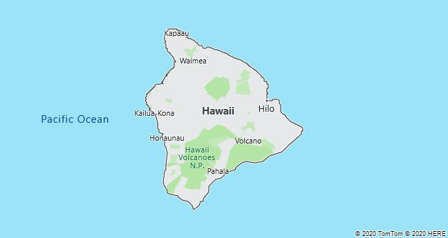 Map of Hawaii Island, Hawaii