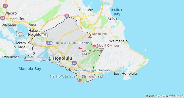Map of Honolulu, Hawaii