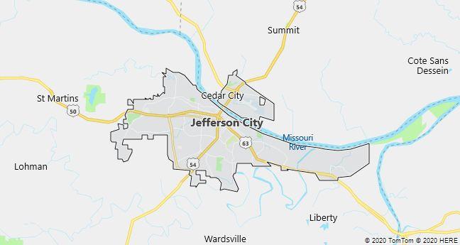 Map of Jefferson City, Missouri