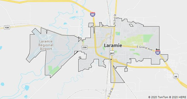Map of Laramie, Wyoming