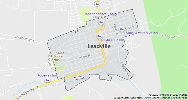 Map of Leadville, Colorado
