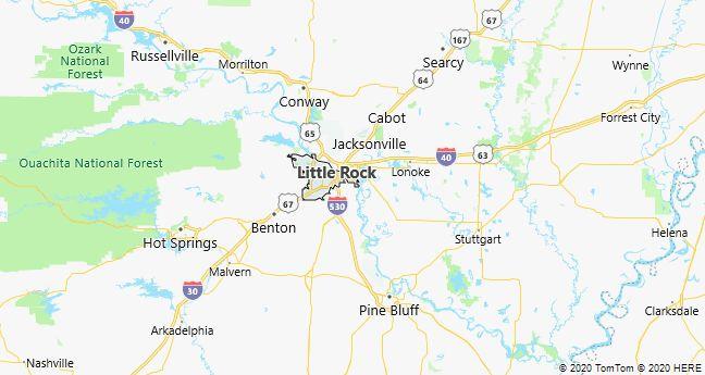 Map of Little Rock, Arkansas