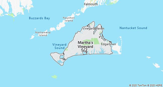 Map of Martha's Vineyard, Massachusetts
