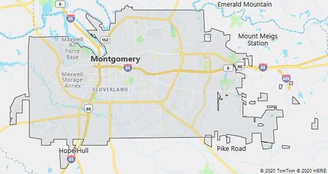 Map of Montgomery, Alabama