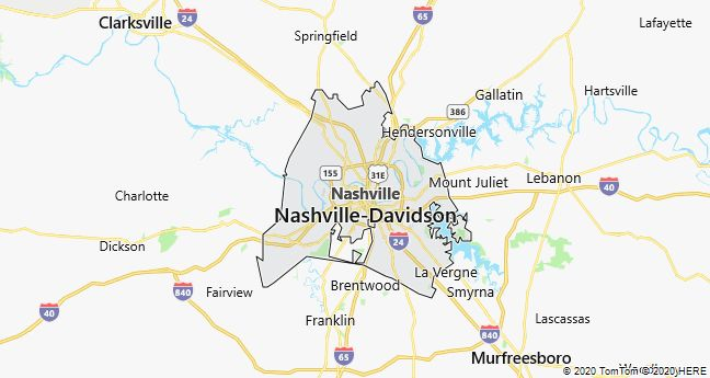 Map of Nashville, Tennessee