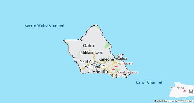 Map of Oahu, Hawaii