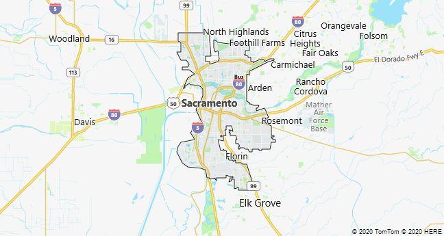 Map of Sacramento, California