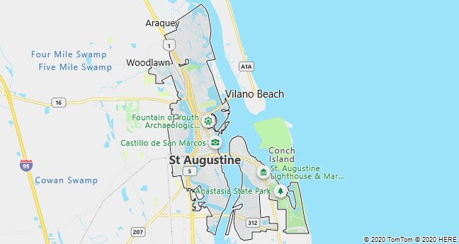 Map of Saint Augustine, Florida