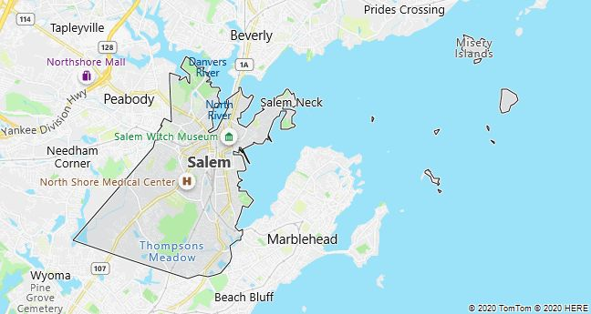 Map of Salem, Massachusetts