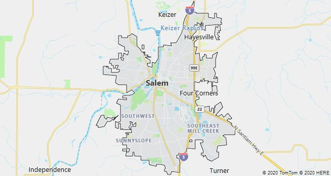 Map of Salem, Oregon