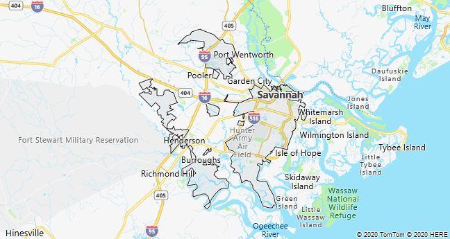 Map of Savannah, Georgia