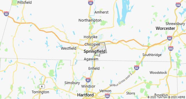 Map of Springfield, Massachusetts