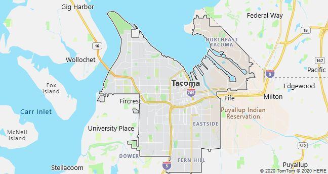 Map of Tacoma, Washington