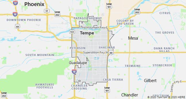 Map of Tempe, Arizona