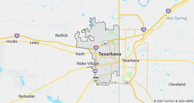 Map of Texarkana, Texas