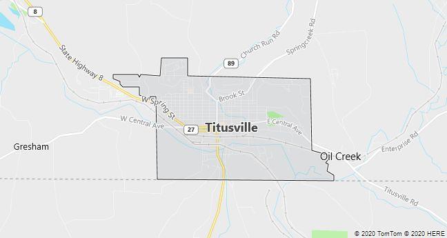 Map of Titusville, Pennsylvania