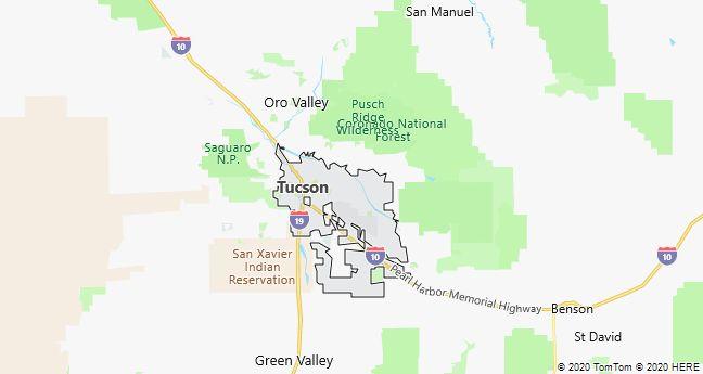 Map of Tucson, Arizona
