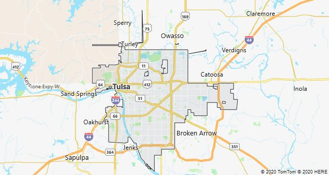 Map of Tulsa, Oklahoma